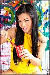 Jib Jarinya Playing With Paint Wearing Yellow Dress