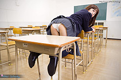 Bending Over On Seat In Classroom Uniform Skirt Raised Over Her Ass Wearing Panties