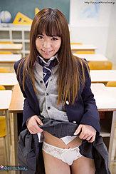Nishino Ena Raising Skirt Hem In Classroom Showing Her Panties Long Hair