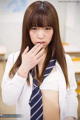 Nishino Ena Raising A Hand To Her Lips Uniform Tie Falling Over Her White Bra