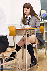 Nishino Ena Seated In Classroom Wearing Uniform Knees Pressed Together