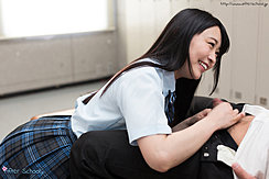 Student On Her Knees In Uniform Long Hair Smiling As She Unbuttons Students Trousers