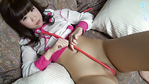 Uri lying on couch small breasts cord between her labia