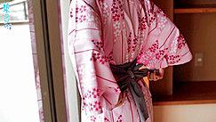 Hands Behind Her Back Loosening Yukata
