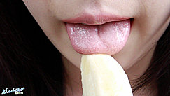 Tongue Extended To Tip Of Banana