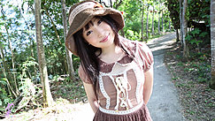 Ayame On Woodland Path Wearing Hat