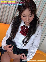 Ami Hirano Wearing Kogal Uniform Raising Skirt Over Smooth Shaved Pussy