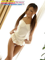 Back to window raising hem of slip over shaved pussy long hair in pigtails