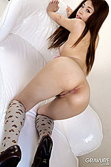 Looking Over Her Shoulder Ayaka Minamino Poses Nude Long Hair Down To Her Waist Ass Raised Up In The Air Asshole And Pussy Lips Visible In Knee High Socks And Shoes