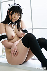 Sitting On Window Sill French Maid Maki Mizutani Baring Her Pert Teen Tits Arms Folded Knees Raised Wearing Thick Black Stockings