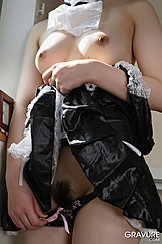 Lifting French Maid Uniform Up Bare Breasts Pulling Panties Down Revealing Trimmed Pussy