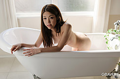Ayaka Minamino Kneeling Naked In Bath Long Hair Pert Tits Hands Resting On Side Bare Ass