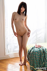 Naked In Front Of Curtained Window Small Breasts Hands On Her Waist Shaved Pussy Knees Pressed Together Bare Feet