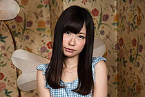 Cutie Rena Yano strips gingham dress and gets naked on all fours