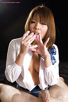 Karina Rion playing with cum wearing kogal uniform shirt partly open
