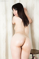 Bending Over Nude Nice Ass Looking Over Her Shoulder Long Hair Down Her Back