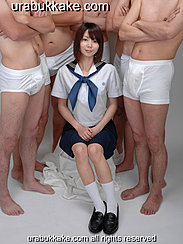 Kogal Seated Between Half Naked Men Wearing Uniform Hands Resting On Her Lap