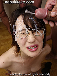 Natsumi With Forehead And Glasses Covered In Bukkake Cum Shooting From Cock Head
