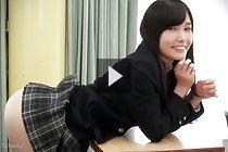 Student Yui Kasugano raises uniform skirt and shows her panties