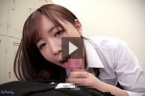 Miyuki Sakura in uniform sucking cock in locker room