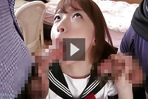 Kogal Reina Fujikawa on her knees in uniform sucking two cocks
